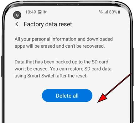 Delete all button