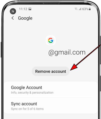 Remove account Samsung